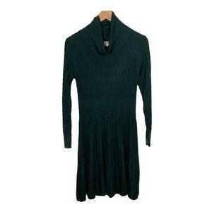 Calvin Klein Womens Sweater Dress A Line Green